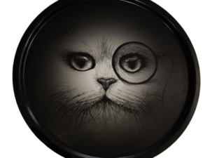 Plateau S Chat Monocle Noir